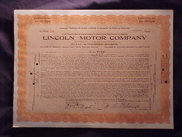 Lincoln Motor Company Stock Certificate 1921