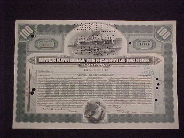 International Mercantile Marine Company Titanic Stock Certificate